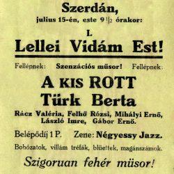 A balatonlellei revü színlapja (1936. július 15